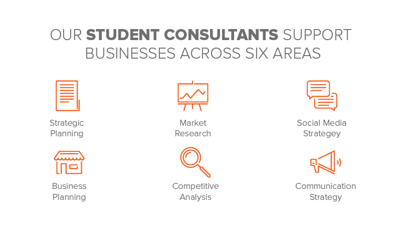 Student consultant support categories - Strategic Planning, Market Research, Social Media Strategy,  Business Planning, Competitive Analysis, Communication Strategy